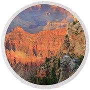 Sunset At Mather Point Round Beach Towel