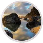 Sunset At Moonstone Round Beach Towel by Mark Alder