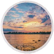 Sunset At Morse Lake Round Beach Towel