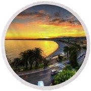 Sunset At Nice Round Beach Towel by Yhun Suarez