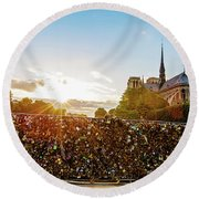 Sunset At Notre Dame De Paris Round Beach Towel