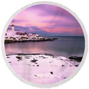 Sunset At Nubble Lighthouse In Maine In Winter Snow Round Beach Towel