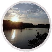 Sunset At Occoquan Round Beach Towel
