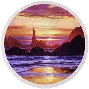 Sunset At Oregon Rocks Round Beach Towel