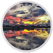 Sunset At Oyster Lake Round Beach Towel