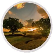 Sunset At Paia Round Beach Towel