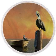 Sunset At Pelican Cove Round Beach Towel