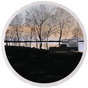 Sunset At Pelican Lake Round Beach Towel