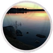 Sunset At Pentwater Lake Round Beach Towel