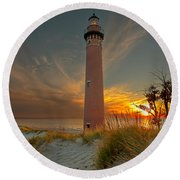 Sunset At Petite Pointe Au Sable Round Beach Towel