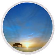 Sunset At Pigeon Point Round Beach Towel