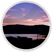 Round Beach Towel featuring the photograph Sunset At Portavadie Scotland by Lynn Bolt