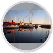 Sunset At Powell River Round Beach Towel