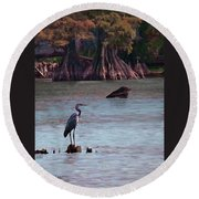 Sunset At Reelfoot Lake Round Beach Towel