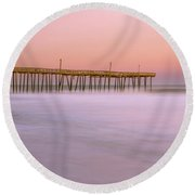 Round Beach Towel featuring the photograph Sunset At Rodanthe Fishing Pier In Obx Panorama by Ranjay Mitra