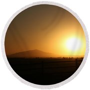 Sunset At Roswell New Mexico  Round Beach Towel