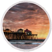 Sunset At Ruby's Round Beach Towel