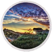 Sunset At Sage Ranch Round Beach Towel