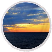 Round Beach Towel featuring the photograph Sunset At Sail Away by Shelley Neff