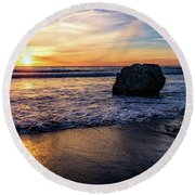 Sunset At San Simeon Beach Round Beach Towel