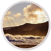 Sunset At Sandy Beach Round Beach Towel by Kristine Merc