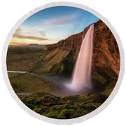 Round Beach Towel featuring the photograph Sunset At Seljalandsfoss by James Udall