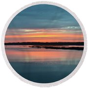 Sunset At Shelter Cove Round Beach Towel
