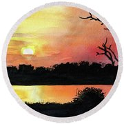 Round Beach Towel featuring the painting Sunset At Shire River In Malawi by Dora Hathazi Mendes