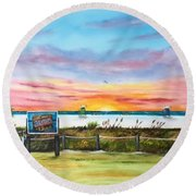 Sunset At Siesta Key Public Beach Round Beach Towel