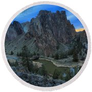 Sunset At Smith Rock Round Beach Towel