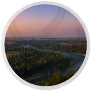 Sunset At Snake River Round Beach Towel