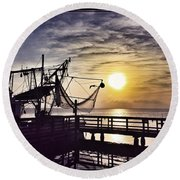Sunset At Snoopy's Round Beach Towel