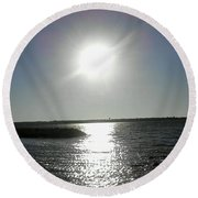 Sunset At Solomons Island Md Round Beach Towel