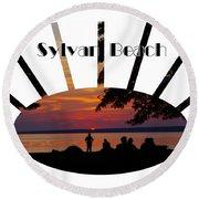Sunset At Sylvan Beach - T-shirt Round Beach Towel by Lori Kingston
