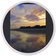 Sunset At The Beach Round Beach Towel by Betty Buller Whitehead