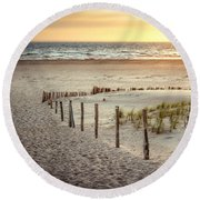 Round Beach Towel featuring the photograph Sunset At The Beach by Hannes Cmarits