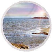 Sunset At The Beach - Tod's Point Round Beach Towel