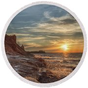 Round Beach Towel featuring the photograph Sunset At The Bluffs by Rod Best