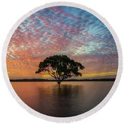 Round Beach Towel featuring the photograph Sunset At The Brighton Tree by Keiran Lusk