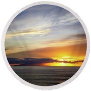 Sunset At The Canary Island La Palma Round Beach Towel
