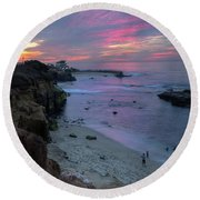 Sunset At The Cove Round Beach Towel