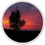 Sunset At The Danube Banks Round Beach Towel