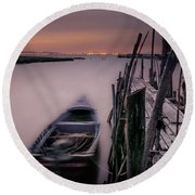Sunset At The Dock Round Beach Towel by Marion McCristall