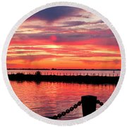 Sunset At The Docks Round Beach Towel
