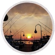 Sunset At The End Of The Talbot St Pier Round Beach Towel