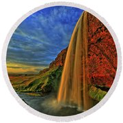 Round Beach Towel featuring the photograph Sunset At The Falls by Scott Mahon