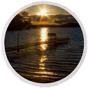 Sunset At The Lake Round Beach Towel
