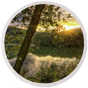 Round Beach Towel featuring the photograph Sunset At The Lake by Kerri Farley