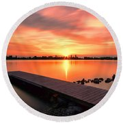 Sunset At The Lake Round Beach Towel