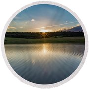 Sunset At The Mandelholz Dam, Harz Round Beach Towel